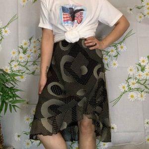 Vintage black and white polka dot geometric skirt